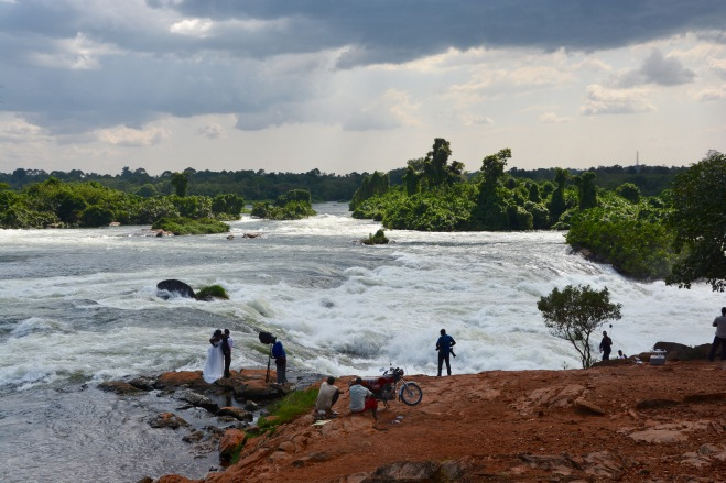 Itanga Falls near the head of the Nile make a background for wedding pictures, selfies and a place to wash motorbikes!