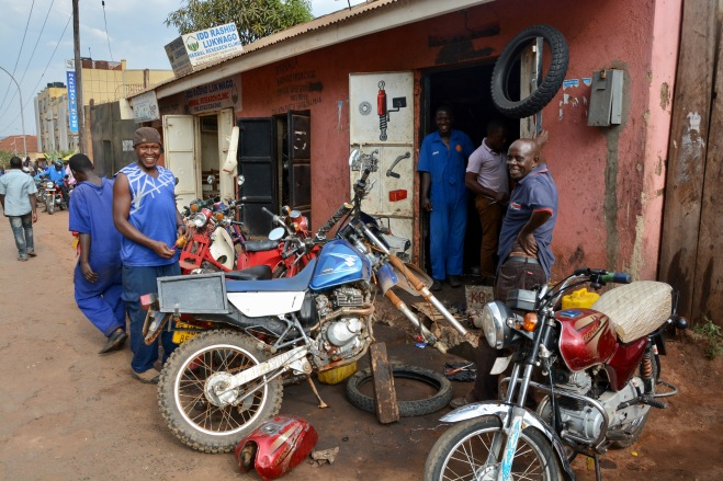 A new front tyre, Kampala
