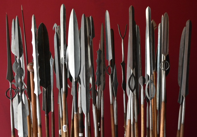 Traditional spears in the ethnographic museum of Rwanda