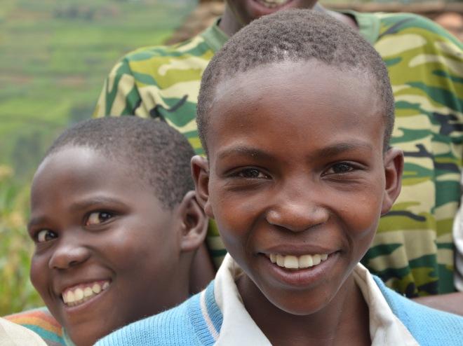 Children at the roadside, Rwanda